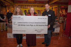 Master Lian Tzi, president of Lotus Light Charity Society present Winter Charity Drive Donation to Lookout Society
